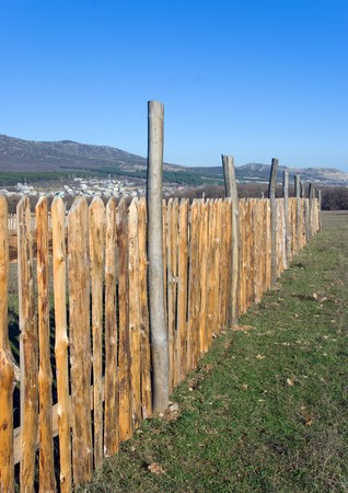 wooden fence and blue sky Stock Photo - 8253790