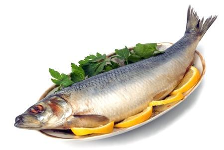 haring op plaat met gerbs en citroen