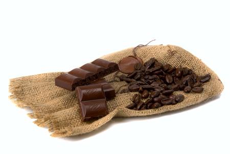 burlap bag tagged sealing wax with coffee bean Stock Photo - 9294705