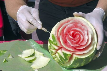 watermelon carving at the festival photo