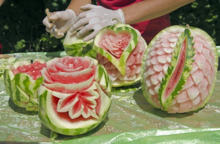 watermelon carving at the festival