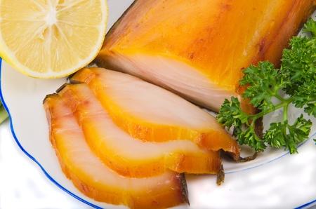 kipper: kipper with greens on plate