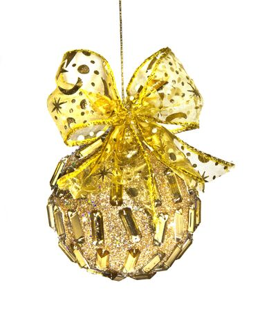 christmas golden ball with gold bow on white background Stock Photo