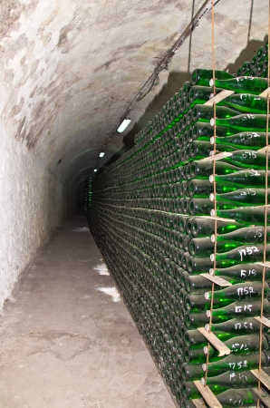 production of the classic champagne in winnery