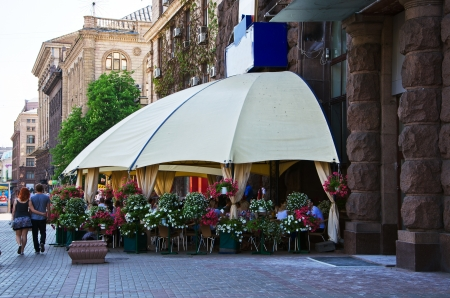 street cafe in the capital of Ukraine