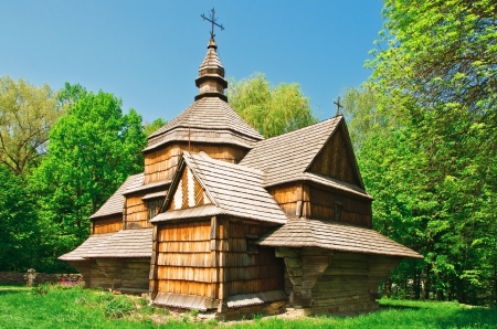 ukrainian ancient church in forest photo