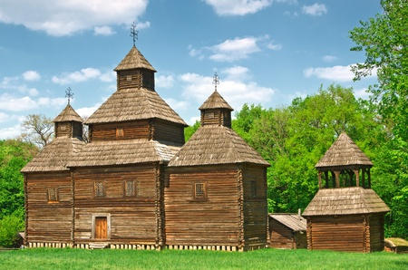 ukrainian ancient church in village photo