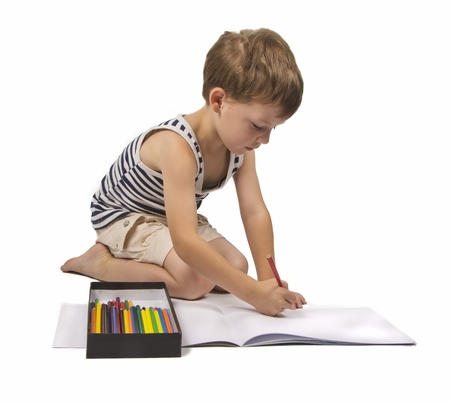 boy is drawing on white background