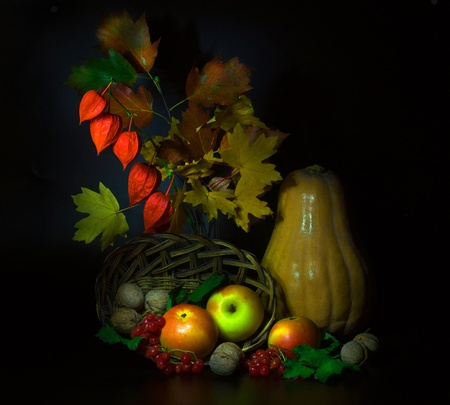 still life of autumn fruits and leafs photo