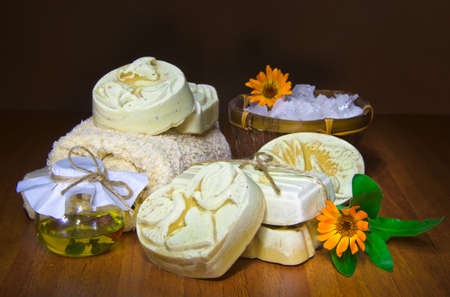 handmade soap and salt with oil in dark Stock Photo - 16665958