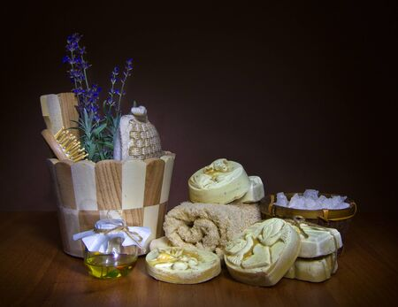 handmade soap and salt with oil in dark Stock Photo - 16665955