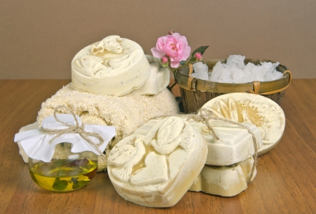 handmade soap and salt with oil  Stock Photo - 16665954