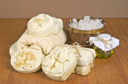 handmade soap and salt with oil Stock Photo - 16665959
