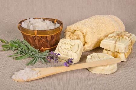 handmade soap and salt with lavender on grey background Stock Photo - 16665966