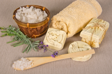 handmade soap and salt with lavender on grey background Stock Photo - 16665969
