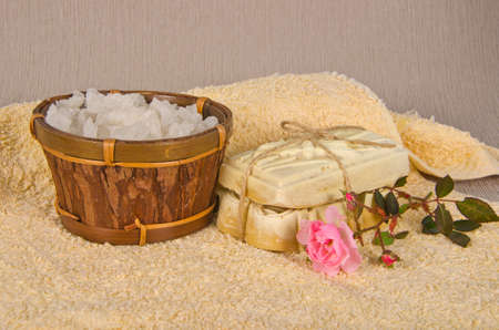 handmade soap and salt with flower on towel Stock Photo - 16665965