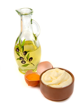 mayonnaise and its ingredients on white background Stock Photo - 17453880