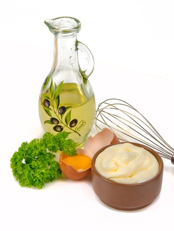 mayonnaise and its ingredients on white background Stock Photo - 17453882