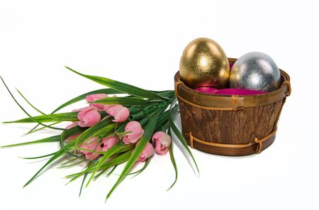 different Easter eggs and tulips on white background Stock Photo - 18718835