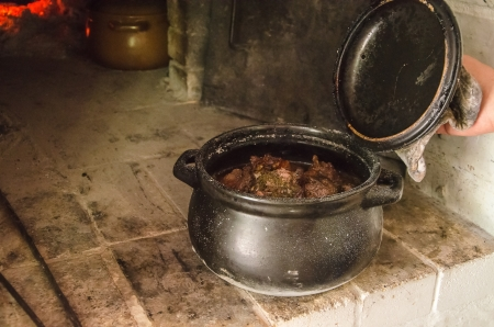 stew meat in ceramic pot cooked at stove photo
