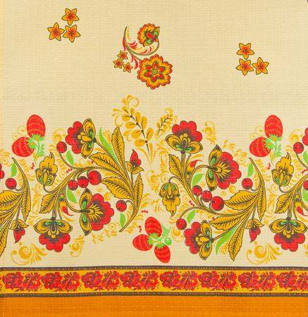 Russian floral pattern on canvas photo