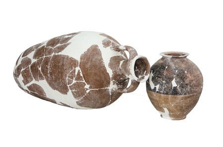 past civilization: fragments of destroyed ancient amphoras from the excavations