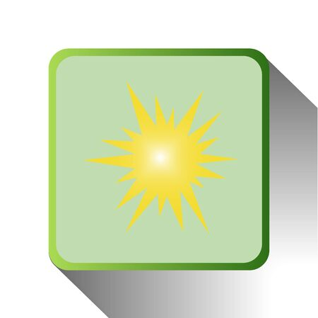 green icon of sun on white background