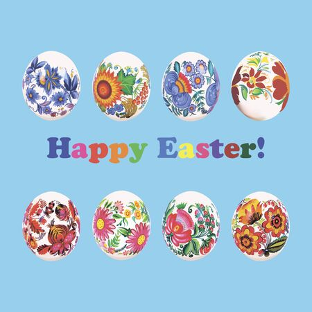 Set of Easter eggs painted flower pattern on blue background