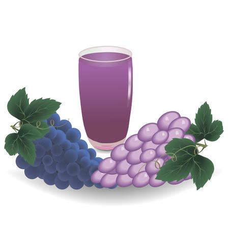 grape and glass of juice on a white background