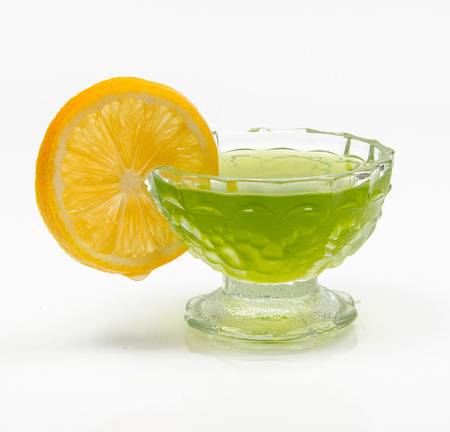 pectin: jelly with lemon on a white background