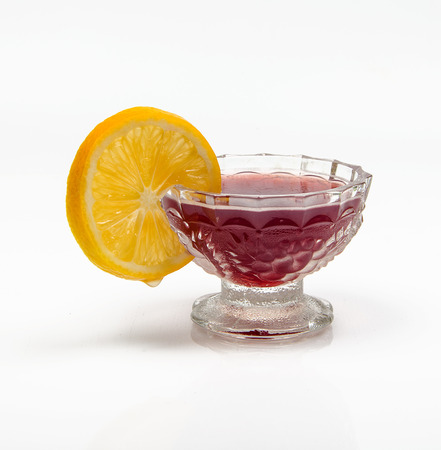 jelly with lemon on a white background