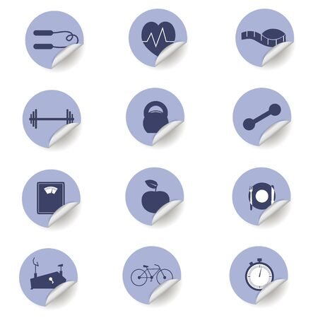 pulse trace: set of stickers for fitness Illustration