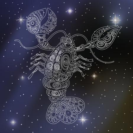 zodiacal symbol: cancer, sign of the zodiac Illustration