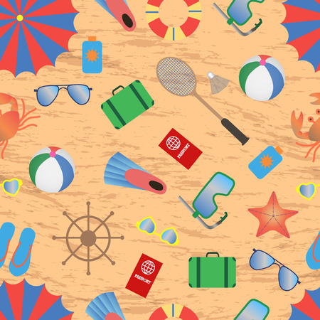 beach illustration: seamless pattern for summer accessories