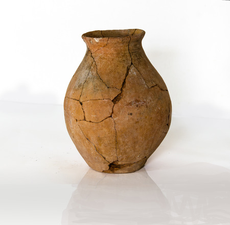 fragments of destroyed ancient pottery from the excavations
