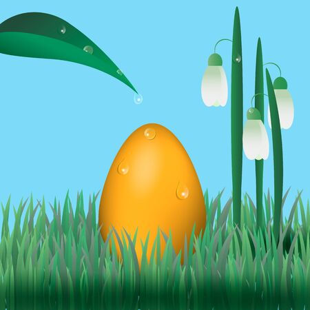 snowdrops: Easter egg with snowdrops on grass. Water droplets on plants and egg Illustration