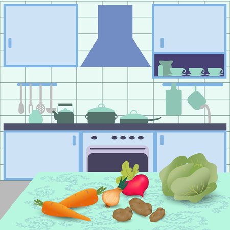 kitchen interior with vegetables on table Illustration