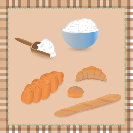 buttery: set of different bread with flour on tablecloth
