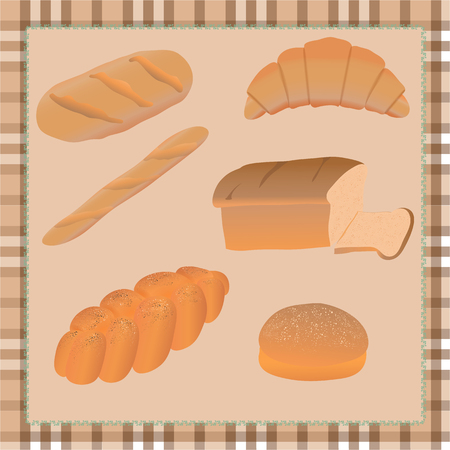 buttery: set of different bread on tablecloth Illustration