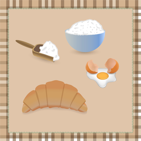 buttery: fresh croissant with flour and broken egg on tablecloth