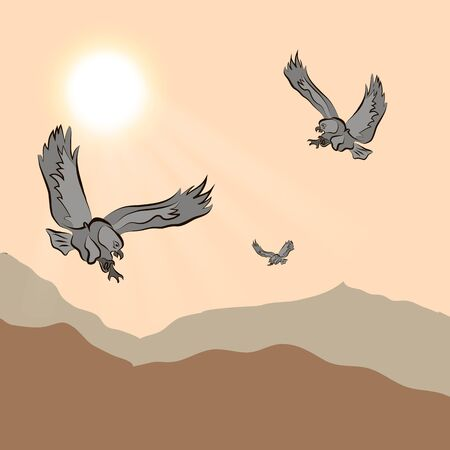 eventide: eagle flying over mountainous terrain at sunset