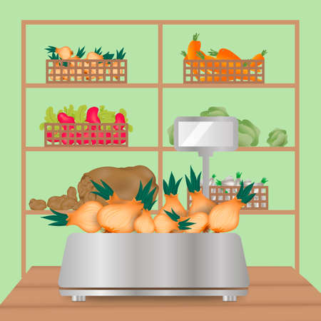 box weight: set of vegetables with weighing-machine