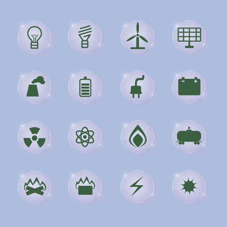 energetics: set of energetics icons on transparent buttons