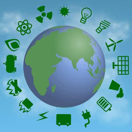 energetics: set of energetics symbols with earth on cloude background
