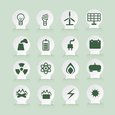 energetics: set of energetics icons on white stickers