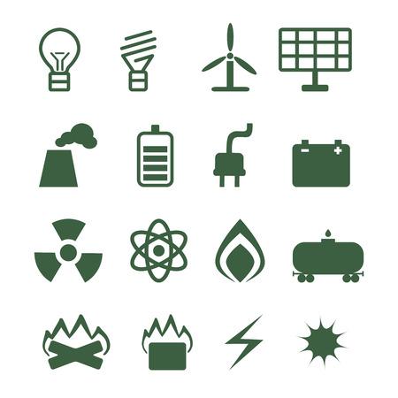 energetics: set of energetics icons on white background