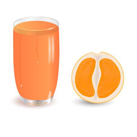 sap: orange and juice on white background Stock Photo