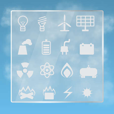 energetics: Transparent stand with  energetics symbols on  background of the cloudy sky