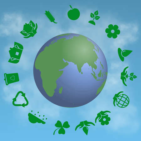 cloude: set of ecology icons with earth on cloude background