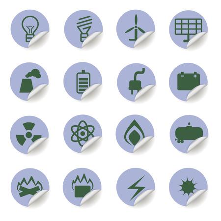 energetics: set of energetics icons on blue stickers Illustration